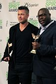 LOS ANGELES - MAR 1:  Brad Pitt, Steve McQueen at the Film Independent Spirit Awards at Tent on the