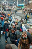 People At The Barricades In Kiev, Ukraine