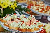 catering services background with snacks and food in restaurant