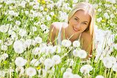 Beautiful young woman among dandelions