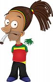 Rastafarian smoking joint