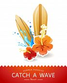 summer time background with surf boards and hibiscus flowers
