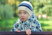 cute little boy walking in park