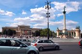 Budapest - Circa July 2014 : Tourists Visit Millennium Monument At Heroes Square Circa July 2014 In