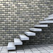 Concept or conceptual white stone or concrete stair or steps near a brick wall background with wood