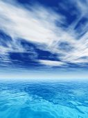 High resolution concept or conceptual sea or ocean water waves and sky cloudscape exotic or paradise