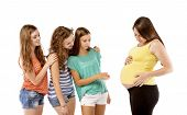 Friends looking at pregnant woman tummy