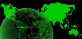 World Map And Semi-globe Glow Green