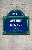 stock photo of mozart  - A street sign for Avenue Mozart in Paris named after famous Austrian Composer Wolfgang Amadeus Mozart - JPG