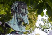 image of passy  - The bust of impressionist painter Edouard Manet at his resting place in Passy Cemetery Paris - JPG