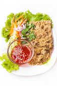 picture of catfish  - crispy catfish spicy salad with mango and sweet sauce Thaifood - JPG