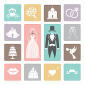 Wedding icons set. Flat icons for web and mobile