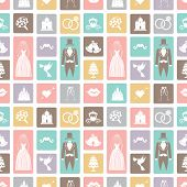 Wedding flat  icons in seamless pattern