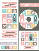 Wedding design template set. Flat icons,wedding wear