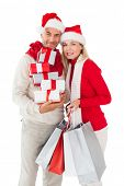 Festive couple holding presents and shopping bags on white background