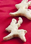 picture of rudolf  - christmas cookies Rudolf close up on red background - JPG