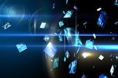 Digitally generated Floating digital screens in blue