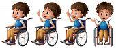 Illustration of a boy sitting on a wheelchair