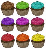 Illustration of many colorful cupcakes