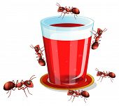 Illustration of a glass of drink and many ants