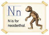 Illustration of a flashcard with letter N