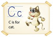 Illustration of a flashcard with letter C