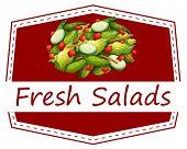 Illustration of a sign of fresh salad