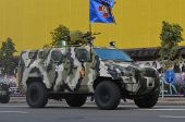 KIEV, UKRAINE - AUG 24, 2014. Ukrainian army during President Poroshenko Victory parade in downtown.