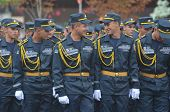 KIEV, UKRAINE - AUG 24, 2014. Ukrainian army during President Poroshenko Victory parade in downtown.