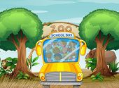 Illustration of a school bus in front of a zoo