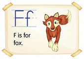 Illustration of a flashcard with letter F