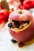 Baked apple stuffed with nuts and dried fruits