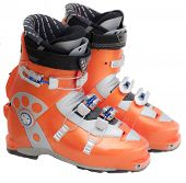 stock photo of ski boots  - Modern orange ski boots isolated on white background - JPG