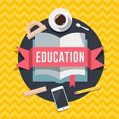 Education flat design concept for web and mobile services and apps.