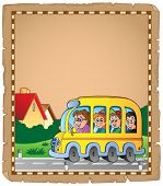 Parchment with school bus 1 - eps10 vector illustration.