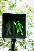 Green Traffic Light With Religious Cross