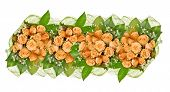 band of yellow rose flowers isolated on white background