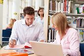 Teacher Helping Mature Student With Studies In Library