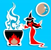 picture of witches cauldron  - Nice witch and cauldron on a blue background - JPG