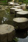 Zen stone path in a Japanese garden near Heian Shrine