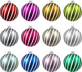 Color christmas balls on white surface. Set of isolated realistic decorations. Vector illustration.