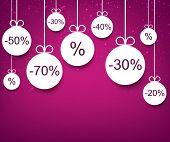 Set of purple sale christmas balls background. Vector illustration.
