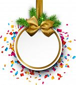 Paper christmas  ball with golden satin bow over colorful confetti. Vector background.