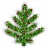 Decorated Christmas tree with color balls on white background. Vector illustration.