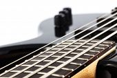 Detail picture of an electric bass guitar