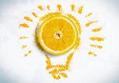 Half of fresh orange on white background