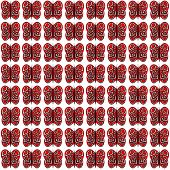 Small Identical Red and White Butterfly Pattern on White