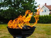 picture of hughes  - Hugh flame on a grill with charcoal on green lawn - JPG