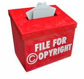 File for Copyright protection 3d words on a box for submitting paperwork and documents for intellectual property protection