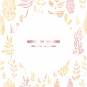Textile textured fall leaves circle frame seamless pattern background